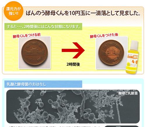 ばんのう酵母くんを10円玉に落としてみました。